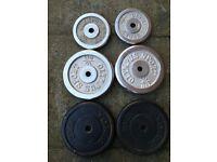 "55kg Cast Iron Barbell set 1"" Cast Iron Weight Plates 10kg & 5kg (dumbell, ez, bench, press)"