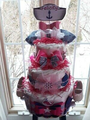 Nautical Theme Baby Girl  3 Tier Diaper Cake-Made To Order For A Girl Or Boy. (Baby Themes For Girl)