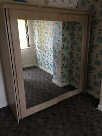 Large Mirror Wardrobe with Lights £150