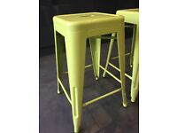 2 Lime green metal bar stools, in perfect condition