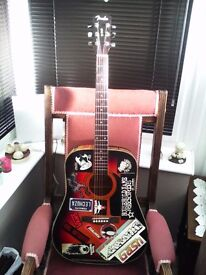 FENDER DG3 - 50TH ANNIVERSARY MODEL PLASTERED IN PUNK! STICKERS (not for the faint hearted)