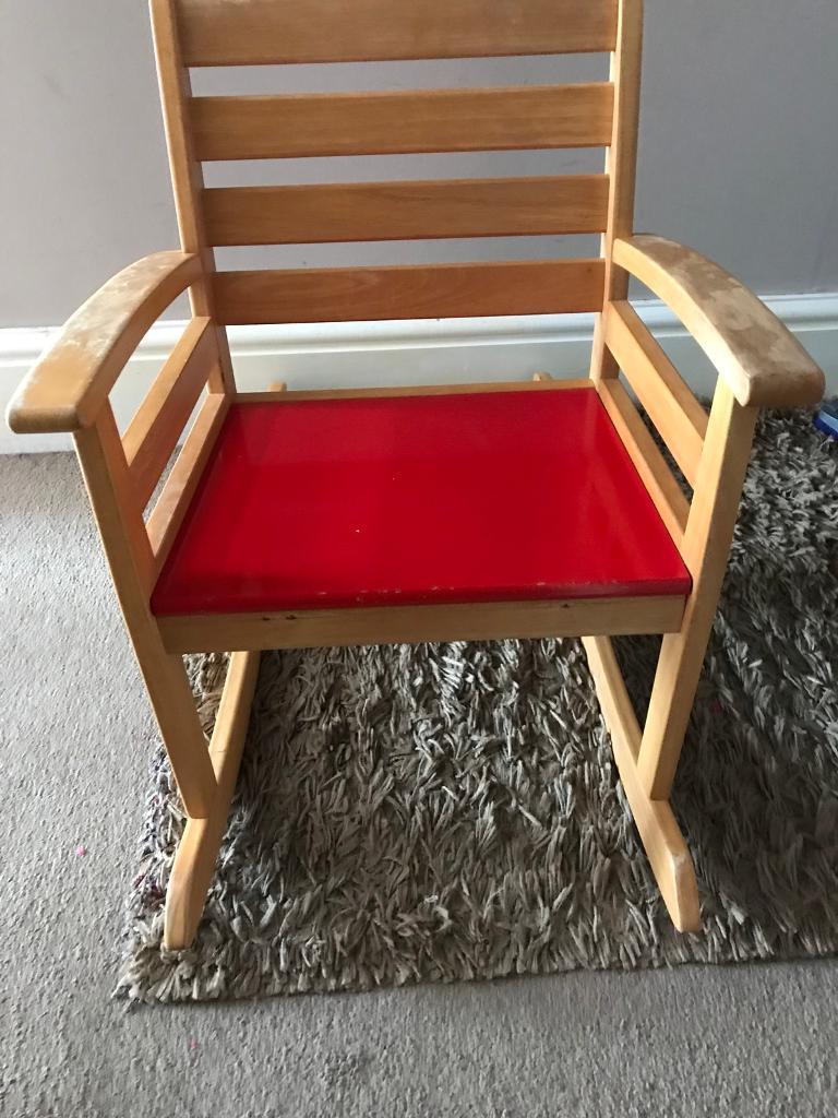 Ikea children's red wooden rocking chair
