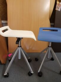 low height adjustable workmans stools, science stools with swivel seat