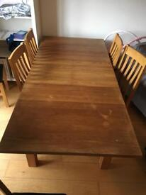 Canadian oak table and six chairs