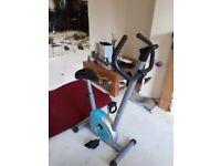 Blue ,grey and black excercise bike in good condition. Hardly been used