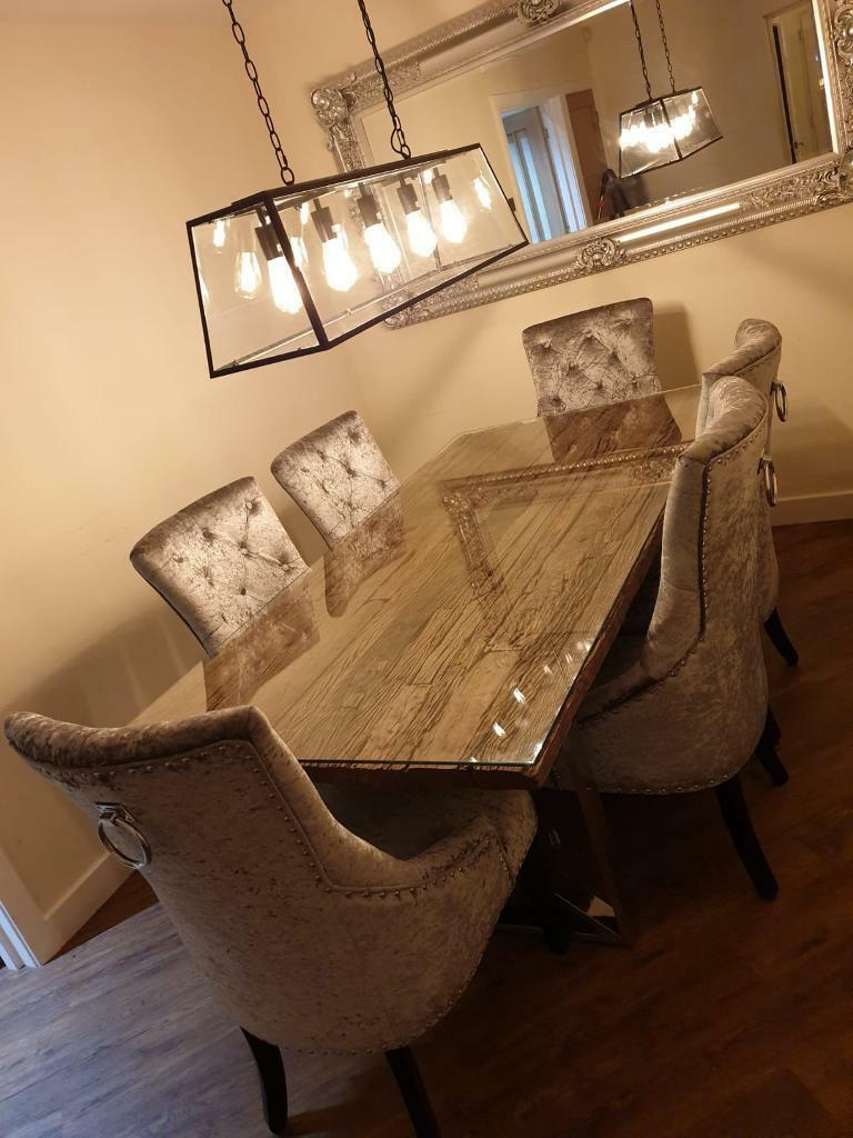 Reclaimed Timber Dining Table 6 Crushed Silver Velvet Chairs