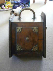 Antique Wooden Coal Scuttle