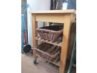 IKEA Kitchen Trolley with two wicker baskets