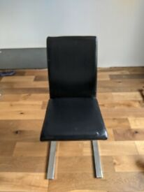 Black Z faux leather dining chairs x4 - excellent condition