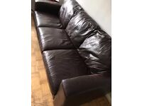 BROWN FURNITURE VILLAGE SOFA- REAL LEATHER- good condition bargain price