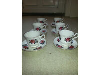 Royal kent bone china made in Staffordshire coffee set 6 cups and sauces