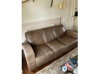 Leather BIBA 3-seat sofa and 2x matching pouffes (brown) SELLING AS SET