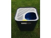 Cat litter tray w vertical entrance Modcat avoids spillage - and large dog/cat carrier IATA approved