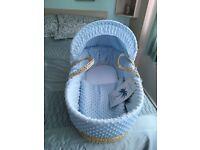 Light blue moses basket & rocking stand