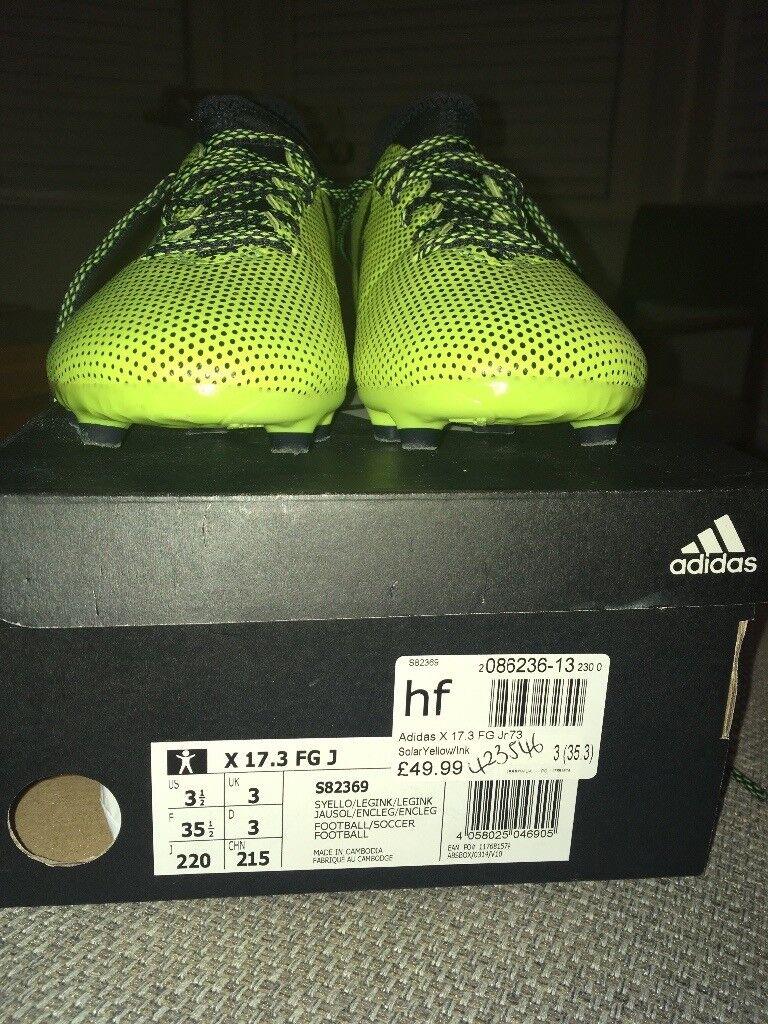 Junior Adidas X 17.3 Size 3 Firm Ground Boots