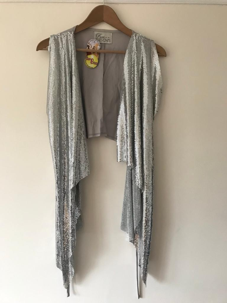 Rare Saturdays silver metal waistcoat/vest size 8-10
