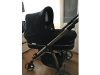 Bebecar IP OP pram in navy includes first stage car and ISOfix, carry cot and pram