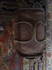 LUXURY Brown SUEDE LEATHER Travel Holdall