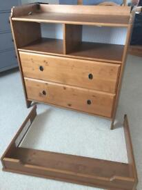 Ikea Leksvik Changing table/ chest of drawers antique pine