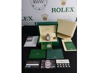 New boxed with papers silver with silver dial markers with fluted bezel Rolex Date Just watch with
