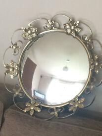 Lovely Round Flower Vintage Mirror. Good Condition