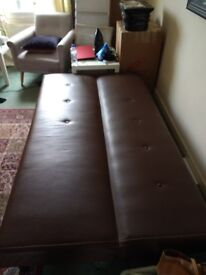3 Seater Leather Effect Sofa Bed Chocolate