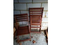 2 Ikea folding wooden garden chairs.