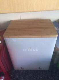 New next light grey blue bread bin wooden top perfect condition