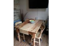 Rustic farmhouse pine table and chairs