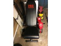 Weight bench and steel weights with bars