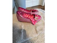 Minnie Mouse sparkly wedges