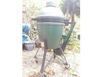 Unused 'Big Green Egg' BBQ with accessories. As seen here: