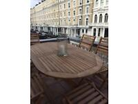 High quality wood outdoor furniture set 6 chairs and table