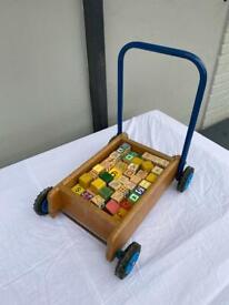 Vintage wooden brick trolley