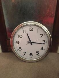 """Extra large silver clock 22"""" in working order"""