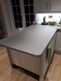 Brand new Wren kitchen counter, still packaged, titanium grey, 180/ 110 /100cm long x 96cm wide