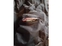 Lady's motor bike gear helmet trousers jacket and boots
