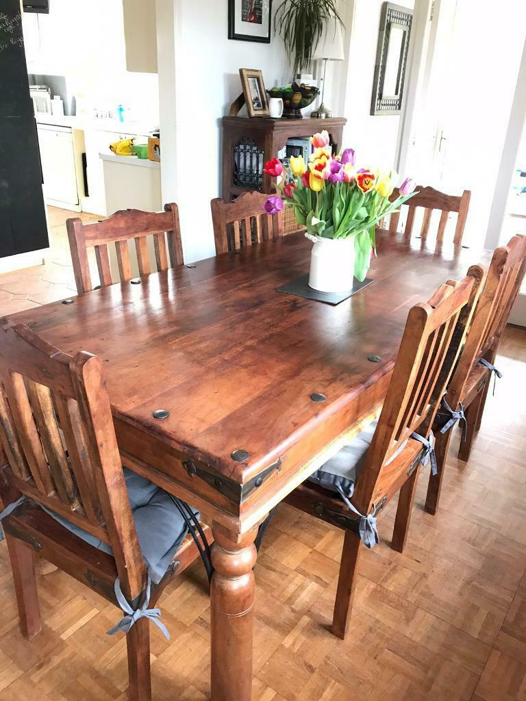 Incredible Indian Dark Wood Dining Table And 6 Chairs In Battle East Sussex Gumtree Onthecornerstone Fun Painted Chair Ideas Images Onthecornerstoneorg