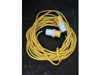 110 Volts extension cable in yellow 14 metres long.
