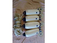 Four Anchor Marine Fenders, Size One Plus Twelve Fathom Mooring Rope. Never Been Used Seen Water