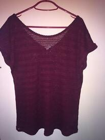 Burgundy top size 14 NEW LOOK