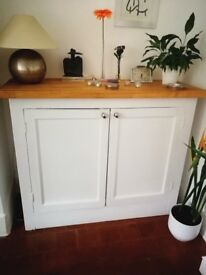 restored old school cupboard, white with wooden top
