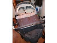 Double pram pushchair with two car seats
