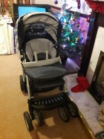MOTHER CARE TRAVEL SYSTEM TRENTON CHAIR WITH ACCESSORIES, RAIN COVER, CARRY COT/FOOT MUFF 😊
