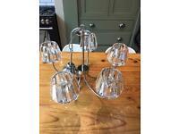 LAURA ASHLEY CAPRI CHROME 5 LIGHT CHANDELIER WITH CLEAR GLASS SHADES