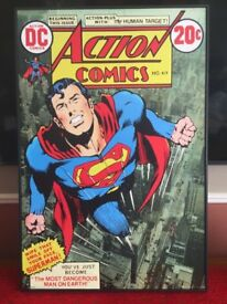 "superman comic cover canvas size 38"" x 25"""