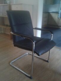 Office style chrome / leather effect chairs - set of four