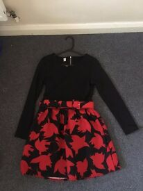 Long sleeve skater dress with maple print skirt and belt- Size M