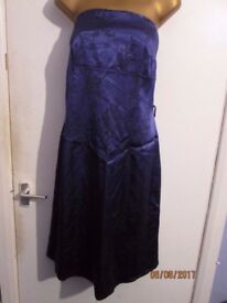 ROYAL BLUE SILK STRAPLESS DRESS SIZE 16 great for christmas or new year party