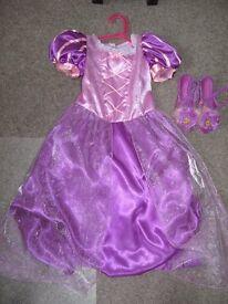 Disney Store Rapunzel Dress and Shoes Age 7-8